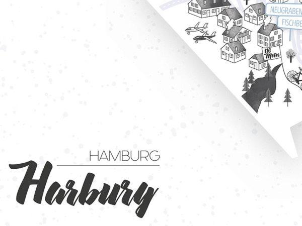 Rapü Design Hamburg Harburg Stadtteilposter Stadtposter Stadtkarte A4 Headline