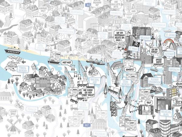 Rapü Design Hamburg Mitte Altenwerder Stadtteilposter Stadtposter Stadtkarte A3 Detail