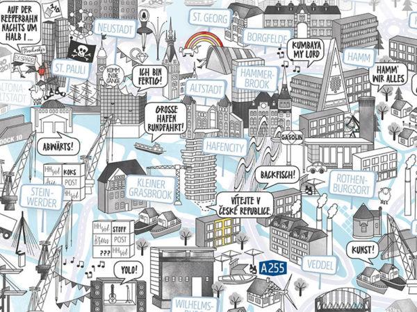 Rapü Design Hamburg Mitte HafenCity Stadtteilposter Stadtposter Stadtkarte A3 Detail