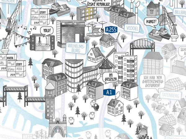 Rapü Design Hamburg Mitte Wilhelmsburg Stadtteilposter Stadtposter Stadtkarte A3 Detail