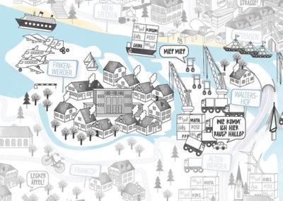 Rapü Design Hamburg Mitte Finkenwerder Stadtteilposter Stadtposter Stadtkarte A3 Detail