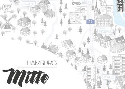 Rapü Design Hamburg Mitte Stadtteilposter Stadtposter Stadtkarte A4 Headline