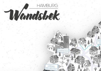 Rapü Design Hamburg Wandsbek Stadtteilposter Stadtposter Stadtkarte A4 Headline