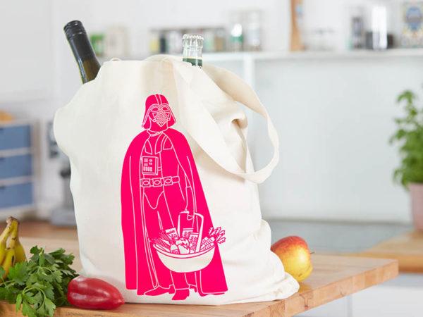 Tasche witziger Baumwollbeutel Shopper Organic Cotton Fair Trade Darth Natur Neon pink befüllt