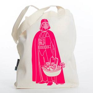 Tasche witziger Baumwollbeutel Shopper Organic Cotton Fair Trade Darth Natur Neon pink Titel freigestellt