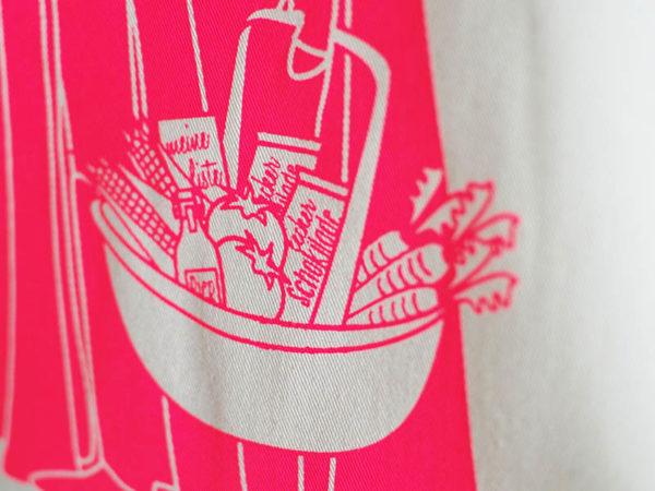 Tasche witziger Baumwollbeutel Shopper Organic Cotton Fair Trade Darth Natur Neon pink Detail