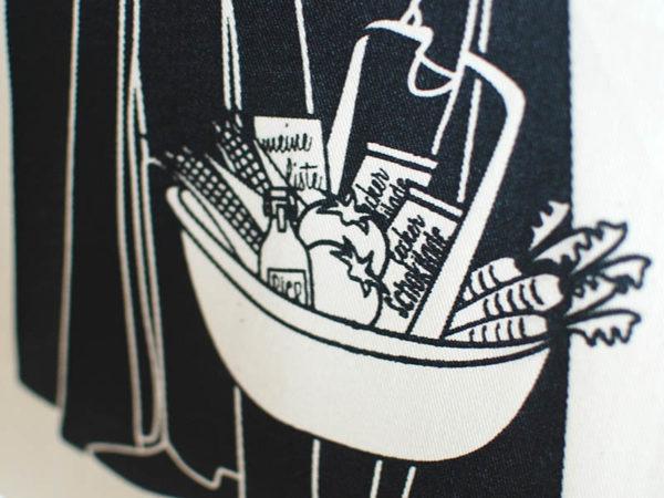 Tasche witziger Baumwollbeutel Shopper Organic Cotton Fair Trade Darth Natur schwarz Detail