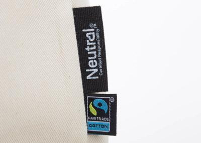 Tasche witziger Baumwollbeutel Shopper Organic Cotton Fair Trade Darth Natur schwarz Detail Label