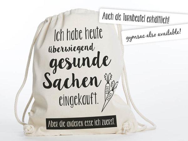 """Tasche witziger Baumwollbeutel Shopper Organic Cotton Fair Trade Natur Schwarz Gesund Gesunde Sachen 5 600x450 - Baumwollbeutel """"Gesunde Sachen"""" Natur Schwarz"""
