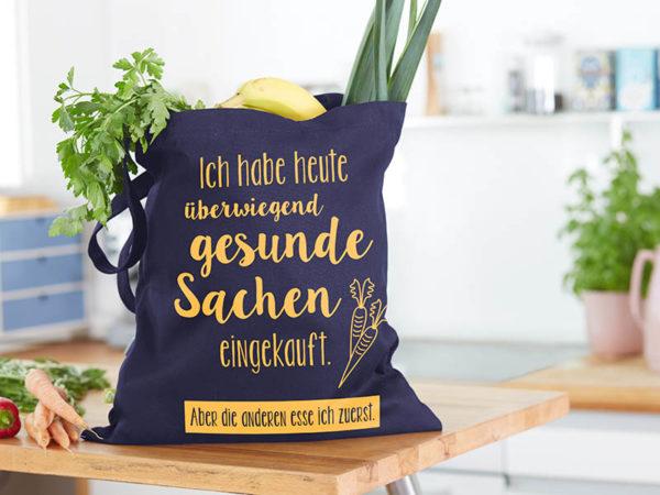 Tasche witziger Baumwollbeutel Shopper Organic Cotton Gesund gesunde Sachen blau gelb befüllt