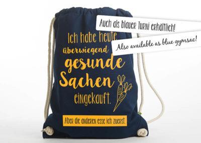 Tasche witziger Baumwollbeutel Shopper Organic Cotton Gesund gesunde Sachen blau gelb auch als Turnbeutel