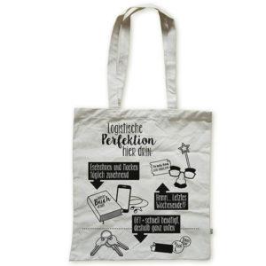 Tasche witziger Baumwollbeutel Shopper Organic Cotton Logistik Natur Schwarz Titel