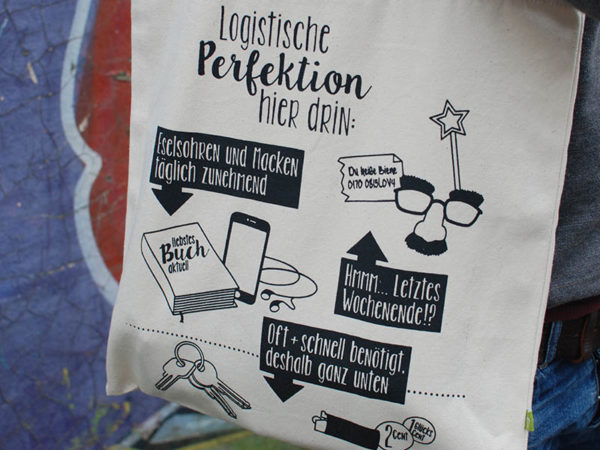 "Tasche witziger Baumwollbeutel Shopper Organic Cotton Logistik Natur Schwarz 4 600x450 - Shopper ""Logistische Perfektion"" Natur, Baumwollbeutel"