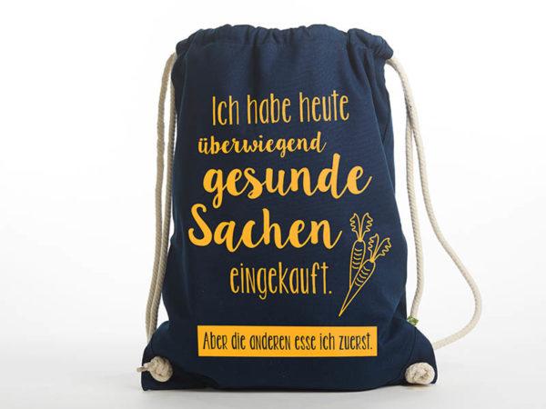 Turnbeutel Gymsac witziger Turnbeutel Organic Cotton Gesund Gesunde Sachen blau gelb Titel freigestellt