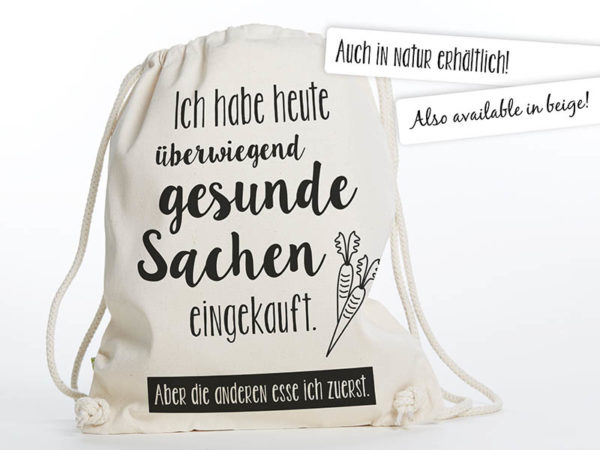Turnbeutel Gymsac witziger Turnbeutel Organic Cotton Gesund Gesunde Sachen Natur Schwarz auch in Natur erhältlich