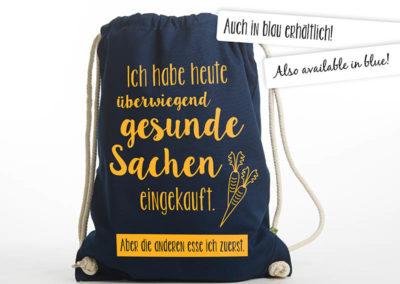 Turnbeutel Gymsac witziger Turnbeutel Organic Cotton Gesund Gesunde Sachen blau gelb auch in blau erhältlich