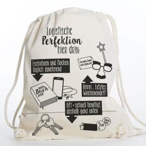 Turnbeutel Gymsac witziger Turnbeutel Organic Cotton Logistik Logistische Perfektion Natur Schwarz Titel freigestellt
