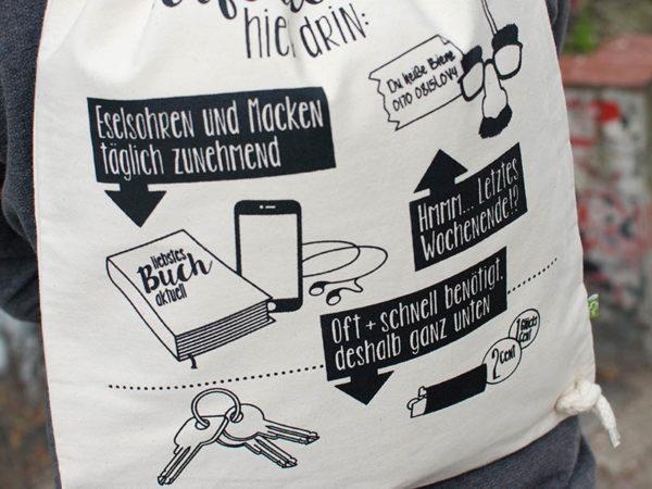 Turnbeutel Gymsac witziger Turnbeutel Organic Cotton Logistik Logistische Perfektion Natur Schwarz Detail
