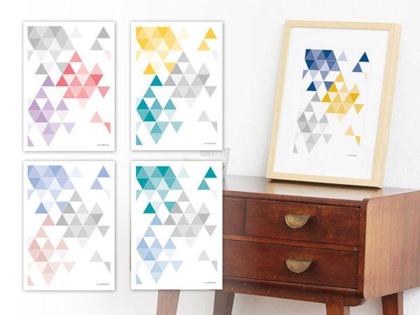 geometrisches Poster minimalistisches Poster Dreiecke Martinesk blau gelb grau A4 alle