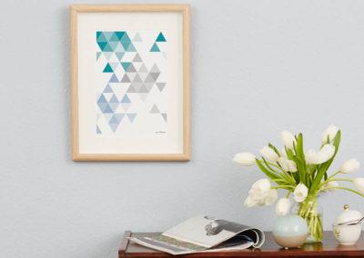 geometrisches Poster minimalistisches Poster Dreiecke Martinesk petrol hellblau grau A4 Wand Zoom