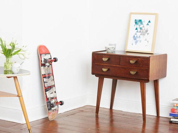 geometrisches Poster minimalistisches Poster Dreiecke Martinesk petrol hellblau grau A4 Seite