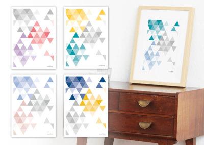 geometrisches Poster minimalistisches Poster Dreiecke Martinesk petrol hellblau grau A4 alle