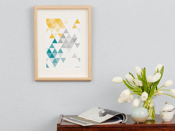 geometrisches Poster minimalistisches Poster Dreiecke Martinesk petrol gelb grau A4 Wand Zoom