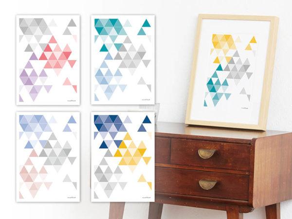 geometrisches Poster minimalistisches Poster Dreiecke Martinesk petrol gelb grau A4 alle