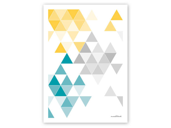 geometrisches Poster minimalistisches Poster Dreiecke Martinesk petrol gelb grau A4 Titel