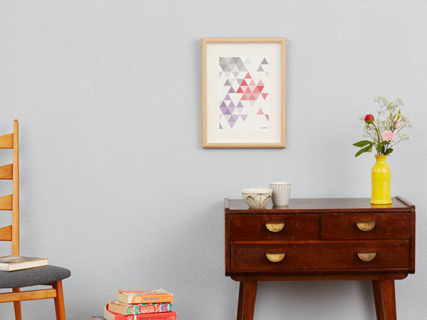 geometrisches Poster minimalistisches Poster Dreiecke Martinesk rot lila grau A4 Wand