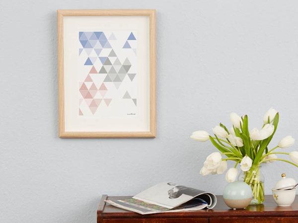 geometrisches Poster minimalistisches Poster Dreiecke Martinesk himmelblau rose grau A4 Wand Zoom