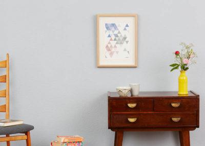 geometrisches Poster minimalistisches Poster Dreiecke Martinesk himmelblau rose grau A4 Wand