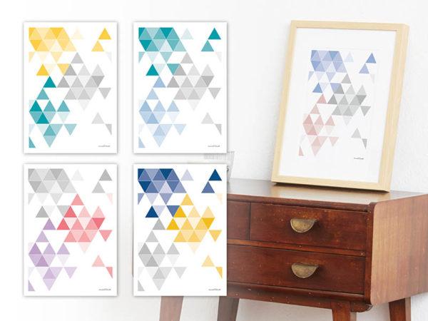 geometrisches Poster minimalistisches Poster Dreiecke Martinesk himmelblau rose grau A4 alle
