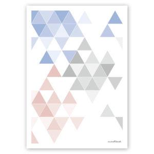 geometrisches Poster minimalistisches Poster Dreiecke Martinesk himmelblau rose grau A4 Titel