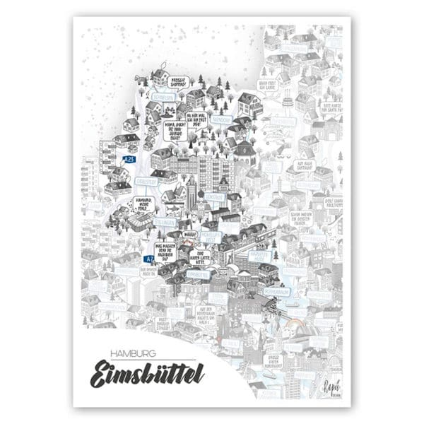 Hamburg Eimsbüttel Stadtteilposter Stadtposter Stadtkarte A4