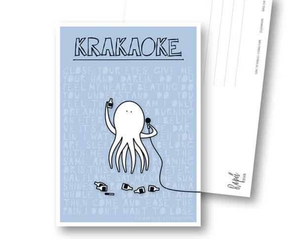 Krakaoke Krake Karaoke Rapü Design Postkarte Hochkantkarten Titel