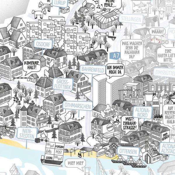 Rapü Design Hamburg Altona Stadtteilposter Stadtposter Stadtkarte A4