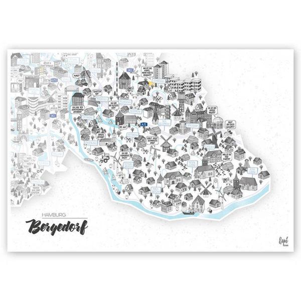 Rapü Design Hamburg Bergedorf Stadtteilposter Stadtposter Stadtkarte A4