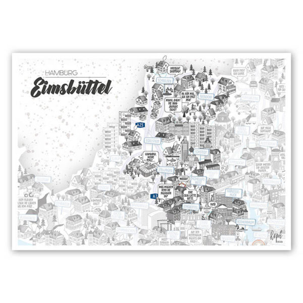 Rapü Design Hamburg Eimsbüttel Stadtteilposter Stadtposter Stadtkarte A4