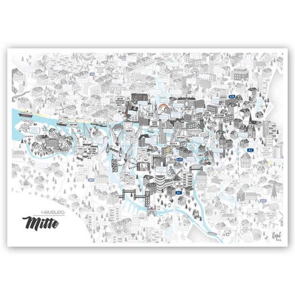 Rapü Design Hamburg Mitte Stadtteilposter Stadtposter Stadtkarte A4