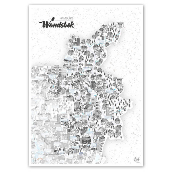 Rapü Design Hamburg Wandsbek Stadtteilposter Stadtposter Stadtkarte A4