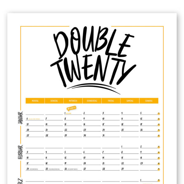 Rapue Design Frau Schnobel Grafik Wendekalender Double Twenty Jahresplaner Wandkalender 2020 gelb