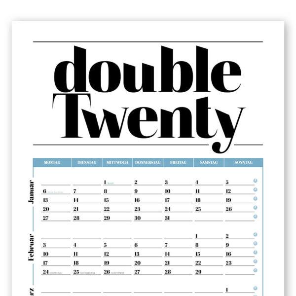 Rapue Design Frau Schnobel Grafik Wendekalender Double Twenty Jahresplaner Wandkalender 2020 blau