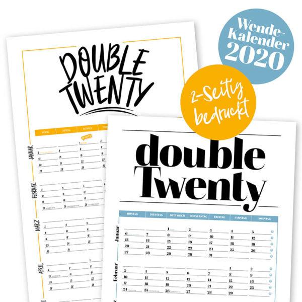 Rapue Design Frau Schnobel Grafik Wendekalender Double Twenty Jahresplaner Wandkalender 2020 beide