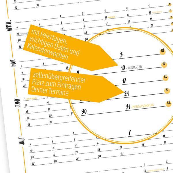 Rapue Design Frau Schnobel Grafik Wendekalender Double Twenty Jahresplaner Wandkalender 2020 gelb Details