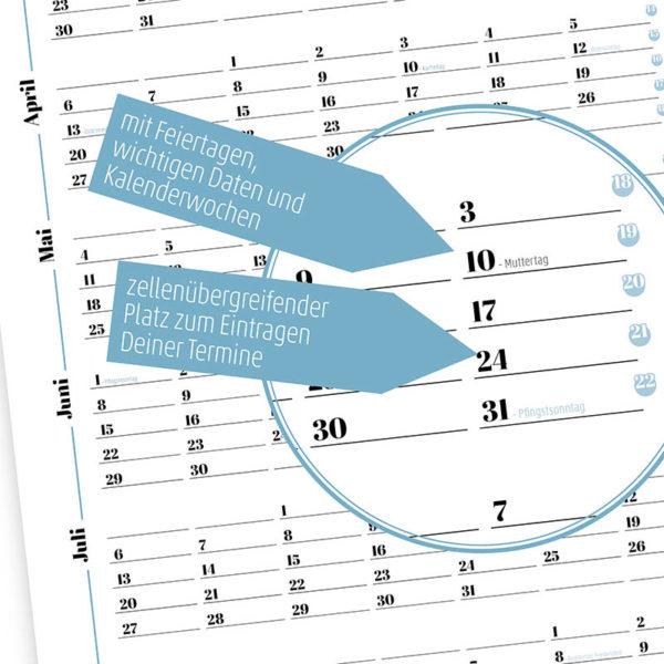 Rapue Design Frau Schnobel Grafik Wendekalender Double Twenty Jahresplaner Wandkalender 2020 blau Details