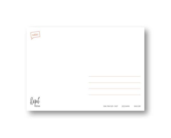 Schafari Schafe Rapü Design Postkarte Hochkantkarten Rücken