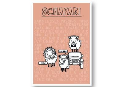 Schafari Schafe Rapü Design Postkarte Hochkantkarten Front
