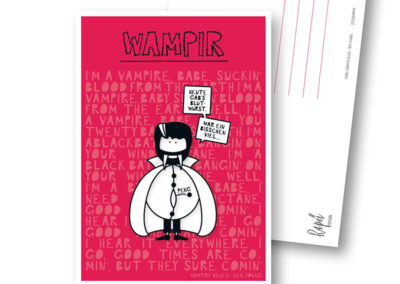 Wampir Vampir Wampe Rapü Design Postkarte Hochkantkarten Titel