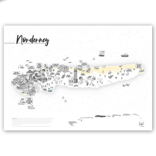 Norderney Poster Norderneykarte 2020 A3 mo konzept